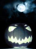 Angry halloween pumpkin and full moon Stock Image