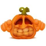 Angry Halloween Pumpkin Jack Lantern emoticon cartoon character Royalty Free Stock Photography
