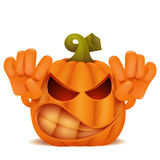 Angry Halloween Pumpkin Jack Lantern emoticon cartoon character Royalty Free Stock Image