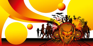 Angry halloween skull and dancing people. Vector angry halloween skull and dancing people silhouette vector illustration