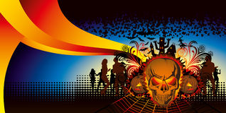 Angry halloween skull and dancing people. Vector angry halloween skull and dancing people silhouette royalty free illustration