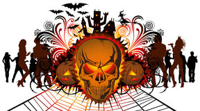 Angry halloween skull and dancing people Royalty Free Stock Photography