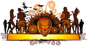 Angry halloween skull and dancing people Stock Image