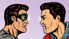 Angry heads. Superhero staring down a villain Stock Photos