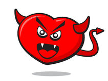 Angry heart. Illustration of angry heart with horn and tile like a devil Royalty Free Stock Image