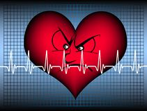 Angry heart with cardiogramm stock image
