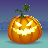 Angry helloween pumpkin. Angry face of helloween pumpkin at cemetery background Royalty Free Stock Photography