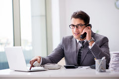 The angry helpdesk operator yelling in office Stock Images