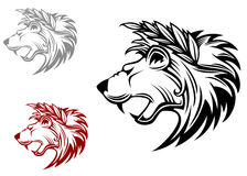 Angry heraldic lion with laurel Stock Image