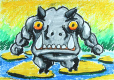 Angry hippo walk on stone in water painting Stock Images