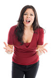 Angry Hispanic woman isolated on a white background Stock Photos