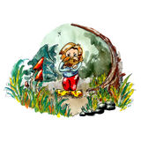 Angry Hobbit. In the forest surrounded by trees, stones, grass, fly and mushrooms. Imaginary creature for magic story. Beautiful illustration for childrens book Stock Photo
