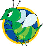 Angry Hornet. An angry green hornet on a blue circle vector illustration