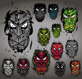 Angry horror scary grungy chinese demon masks. Illustration Royalty Free Stock Photos