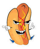 Angry hotdog cartoon Stock Photo