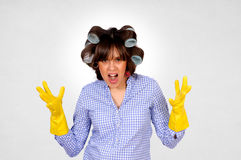 Angry housewife Royalty Free Stock Photos