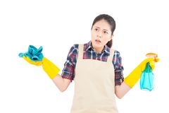 Angry housewife no idea how to clean Royalty Free Stock Image