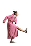 Angry housewife in pink dressing gown Stock Photos