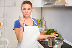 Angry housewife Royalty Free Stock Image