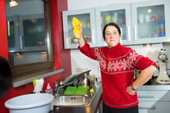 Angry housewife Stock Photography