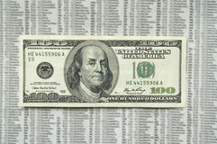 Angry hundred dollar bill. Hundred dollar bill with picture of angry Franklin with a sad face, on the stock market paper as a background Royalty Free Stock Images