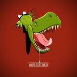 Angry and hungry dinosaur comes out from the hole in the wall Stock Photo