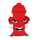 Angry hydrant cartoon Royalty Free Stock Photo