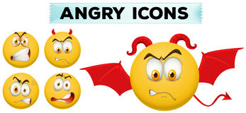 Angry icons on yellow balls Stock Photos