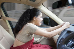 Angry Indian woman in the car Royalty Free Stock Photography