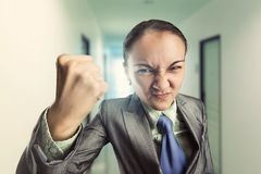 Angry irritated woman in the office Royalty Free Stock Photos