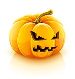 Angry Jack-O-Lantern halloween pumpkin. Illustration, isolated on white background Royalty Free Stock Photos
