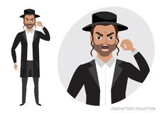 The evil jew man threatens with his hand. Angry jew men. Negative Emotions. Bad Days. Bad Mood Stressful men Royalty Free Stock Images