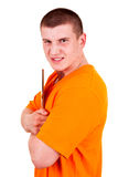 Angry joung man with tablet Stock Photography