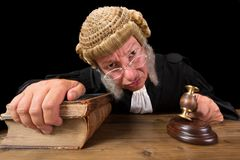 Angry Judge. In extreme wide angle closeup with hammer and wig royalty free stock image