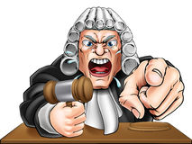 Angry Judge Cartoon. Cartoon angry judge cartoon character screaming and pointing Royalty Free Stock Image