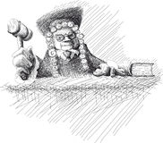 Angry judge Doodle Stock Photography