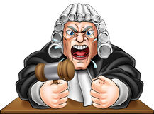 Angry Judge with Gavel Stock Image