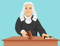 Angry judge makes verdict for law knocking gavel Stock Image