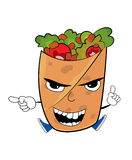 Angry Kebab cartoon Stock Images