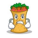 Angry kebab wrap character cartoon. Vector illustration royalty free illustration