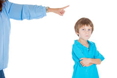 An angry kid confronting his mothers orders Royalty Free Stock Image