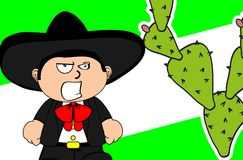 Angry kid mexican mariachi cartoon expressions background Royalty Free Stock Photo