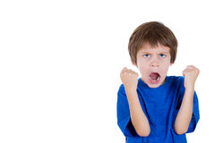 angry kid raising two fists in the air and yelling with mouth wide open Stock Image