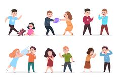 Angry kids. Bad boys and girls confronting and bullying smaller children. Bad behavior kid vector characters royalty free illustration