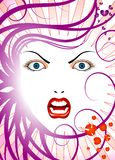 Angry lady. The vector graphic version is in eps format, the vector graphic is separated into view layers, can be re sized to any size and editable in adobe Royalty Free Stock Photography