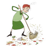 Angry lady cleaning Stock Image