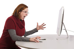 Angry lady yelling on computer screen Royalty Free Stock Photo