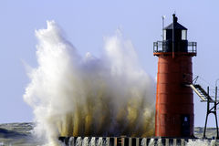 An Angry Lake Michigan and lighthouse royalty free stock images
