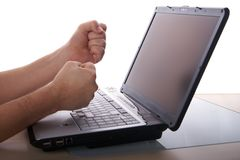 Angry with laptop stock photography