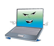 Angry laptop cartoon Stock Images